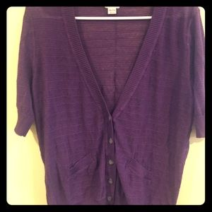 Purple elbow length cardigan